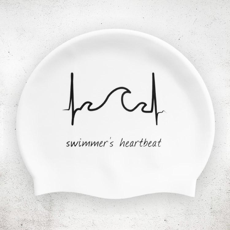 Swimmer's Heartbeat Badekappe in weiß
